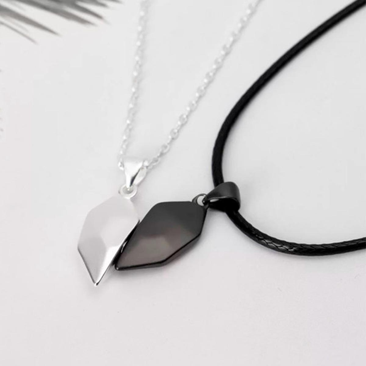 Collar Para Parejas Medio Corazón De Metal Magnético Imán