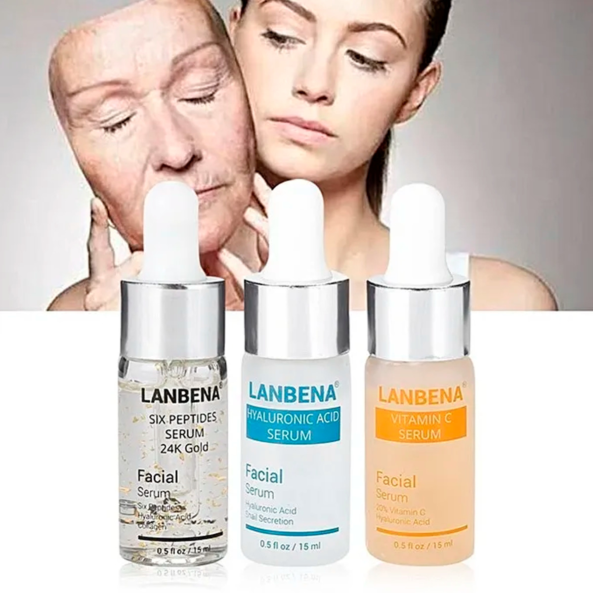 Trio Lanbena Serum Vitamina C + Acido Hialuronico + 6 Péptidos