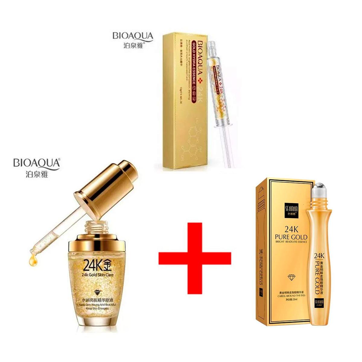 Kit Bioaqua 24k Gold Essence Colageno Acido Hialuronico 3pz