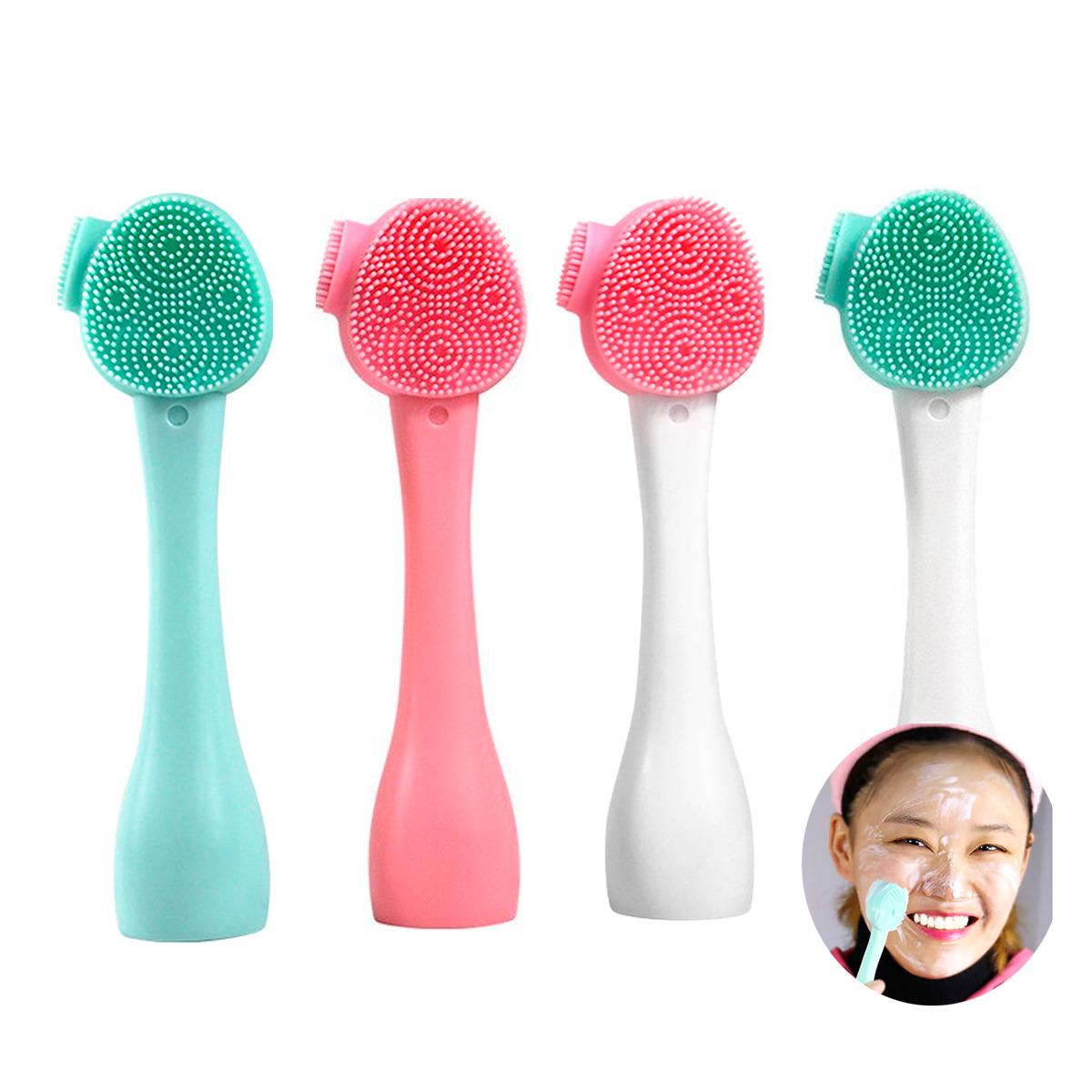 Cepillo Exfoliante Facial Cuidado Piel Silicona Doble Cara