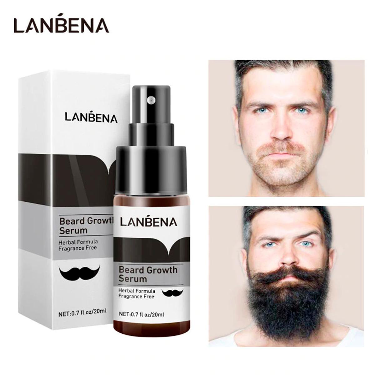 Lanbena Serum Spray Crecimiento De Barba Y Bigote Gruesa