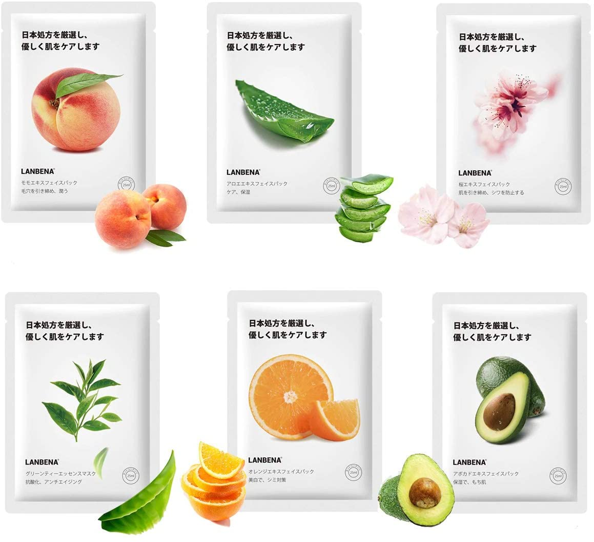 Paquete Mascarillas Hidratantes Lanbena Ingredientes Naturales 6pz