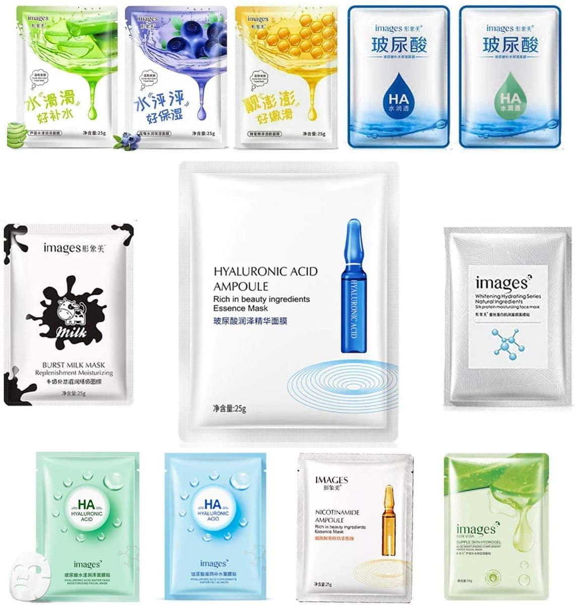 Paquete 12 Mascarillas Coreanas Images Relajantes Y Revitalizantes Ideal Para Hidratar Suavizar Y Aclarar El Rostro