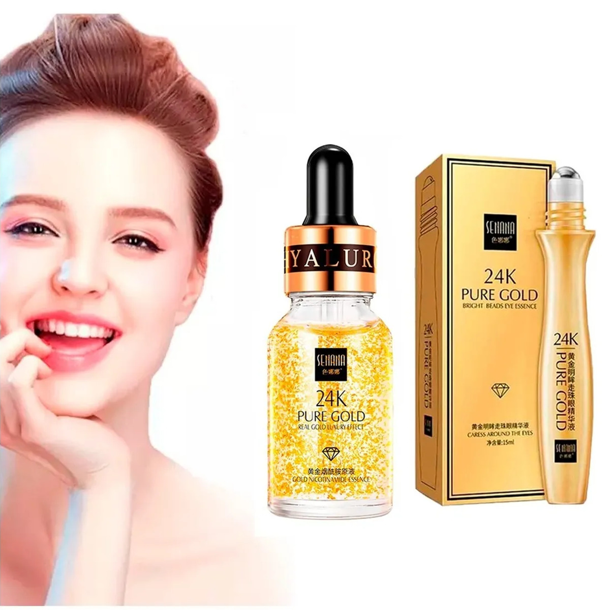 Dúo Serum Facial 24k Roll On Pure Gold Anti-edad Senana