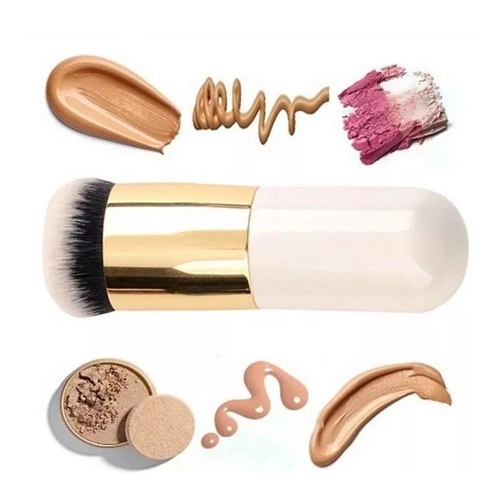 Brocha Kabuki Maquillaje Base, Corrector, Polvos, Rubor (Blanco – Dorado)