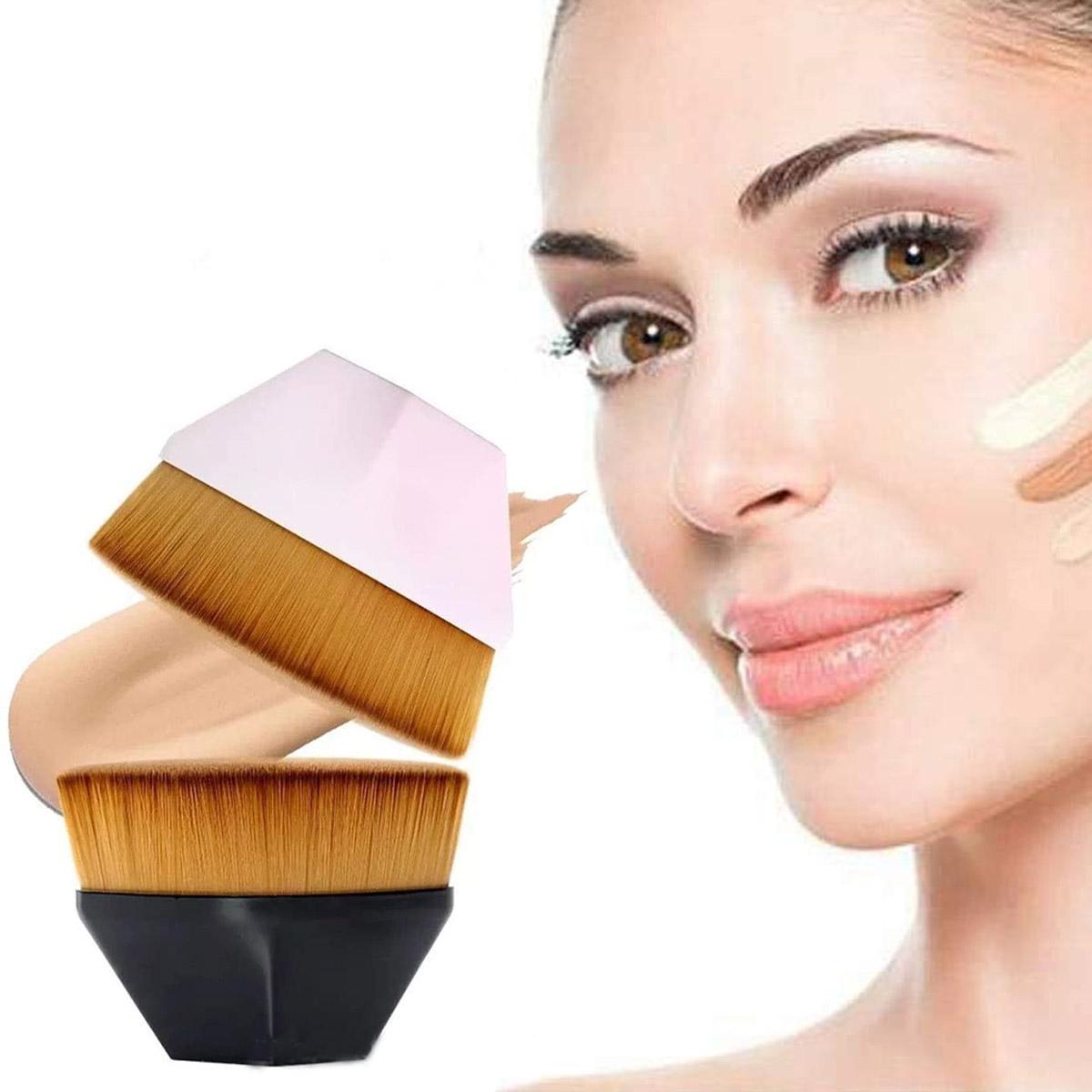 Brocha Plana De Maquillaje Kabuki Para Base Corrector Polvo