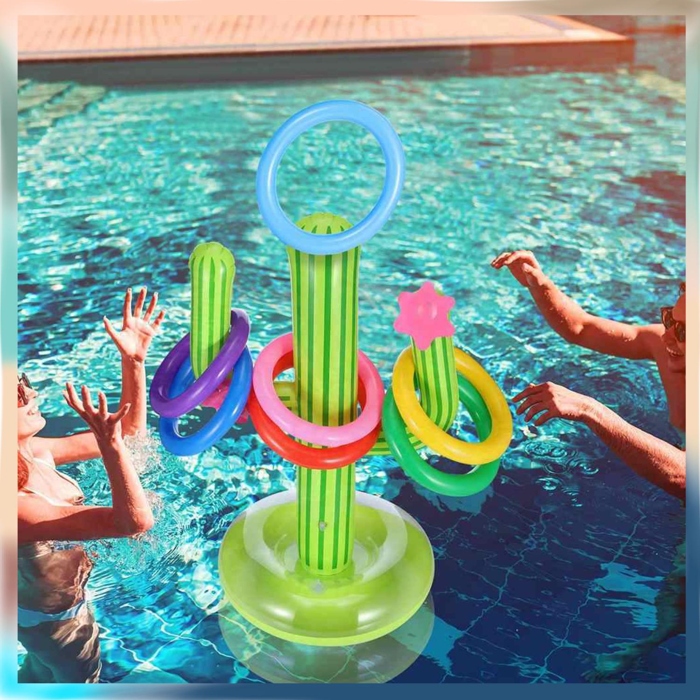 Juego Inflable De Cactus Lanzamiento De Aros Para Alberca
