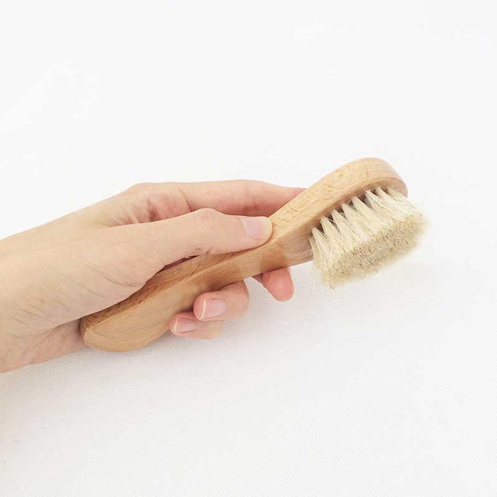 Cepillo Facial Mango De Madera Cerdas Naturales