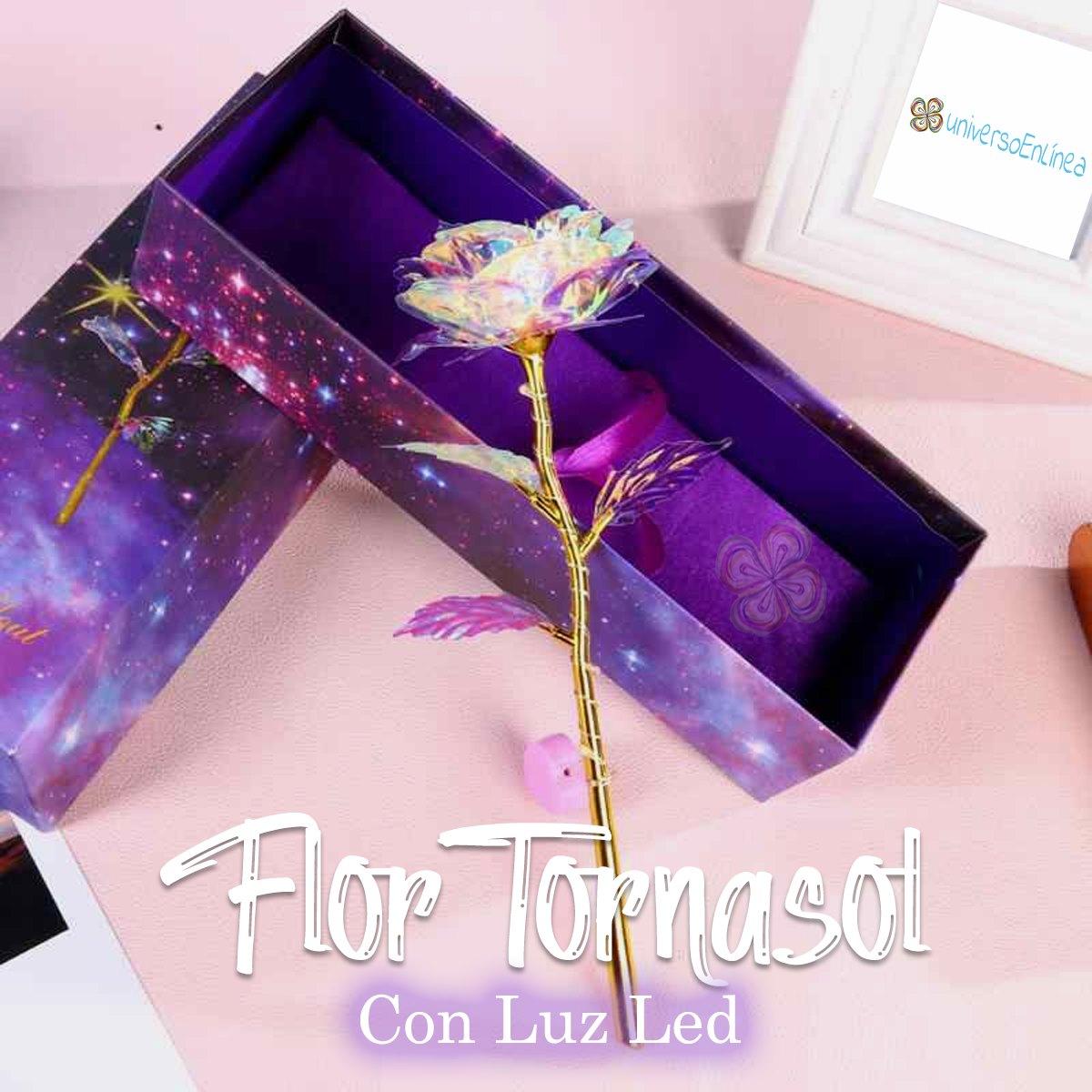 Rosa Tornasol Con Luz Led Ideal Para Regalo Con Bolsa De Regalo