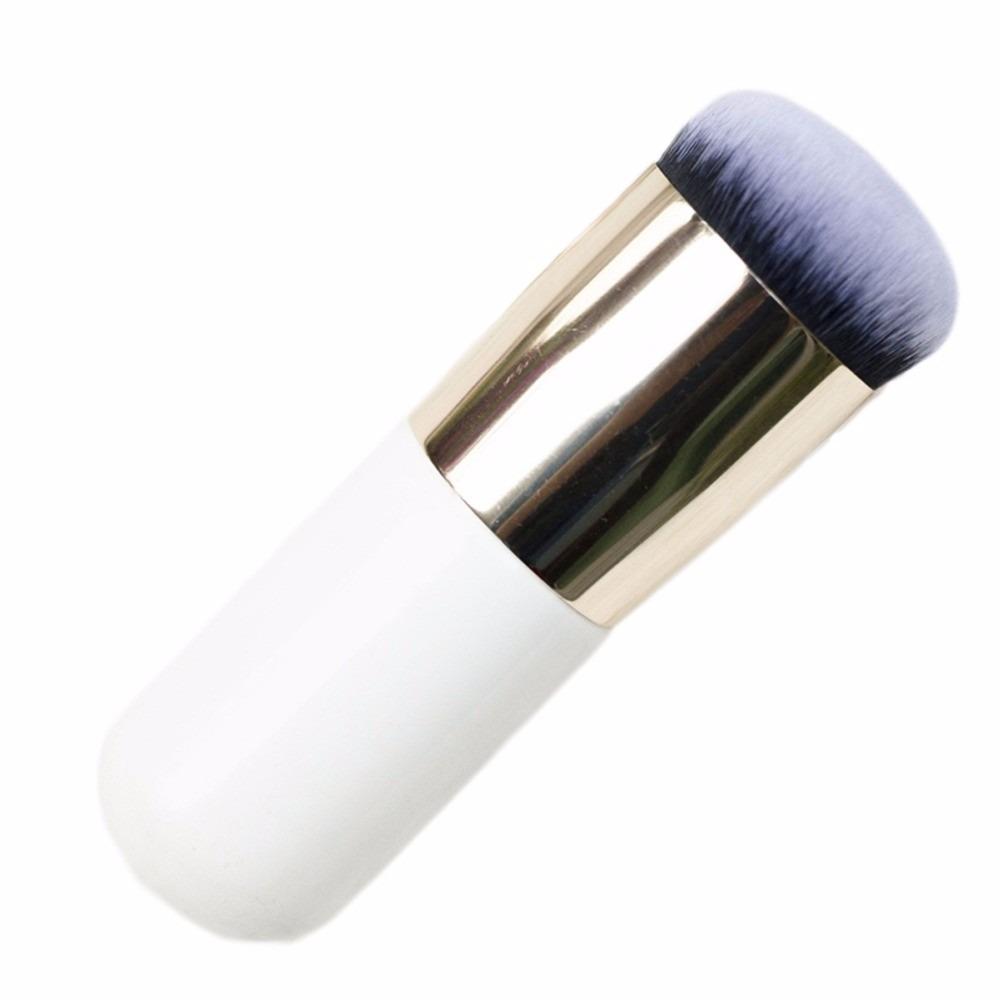 Brocha Kabuki Maquillaje Base, Corrector, Polvos, Rubor (Color Blanco Con Plata)