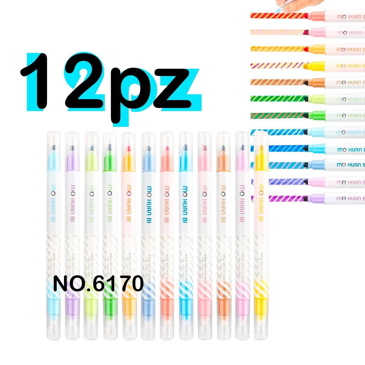 Marcador Mágico Cambia De Color Con Doble Punta 12 Pz