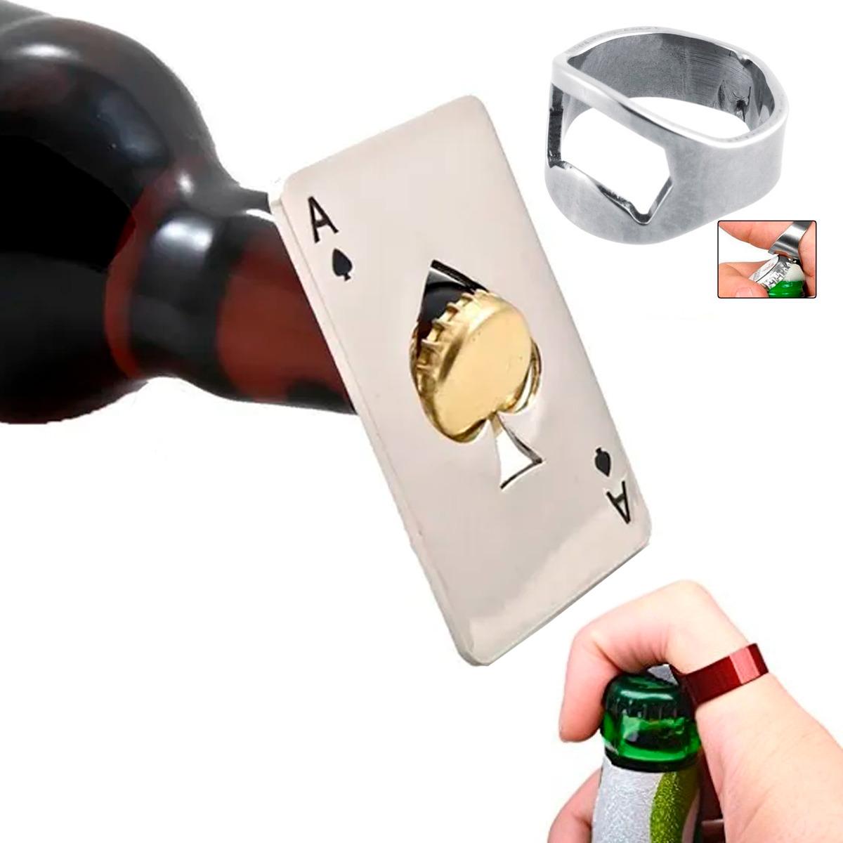 Destapador Tarjeta Botellas Carta Pokar Acero + Anillo Regalo