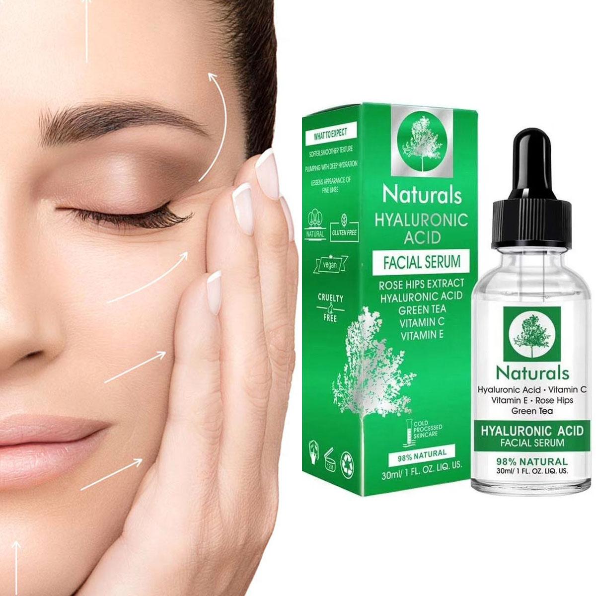 Serum De Ácido Hialurónico Con Extracto De Rosas Vitamina E Té Verde
