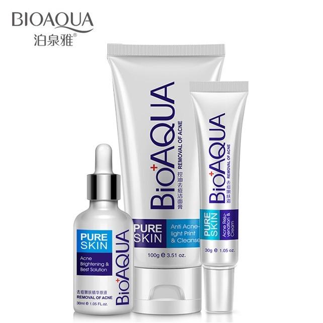 Trío Pure Skin Bioaqua Removedor De Acné Serum Crema Y Espuma